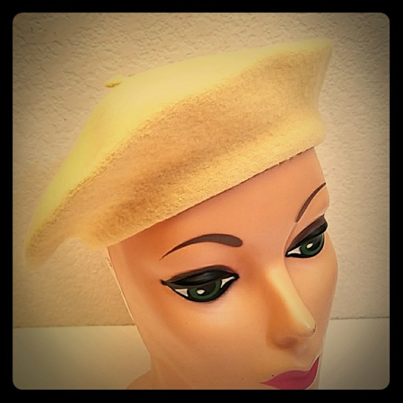 Vintage Yellow Wool Beret Hat Cap Retro Spring  2b5976d5f5c2